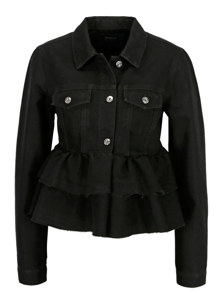 Černá džínová bunda s volány ONLY Stella