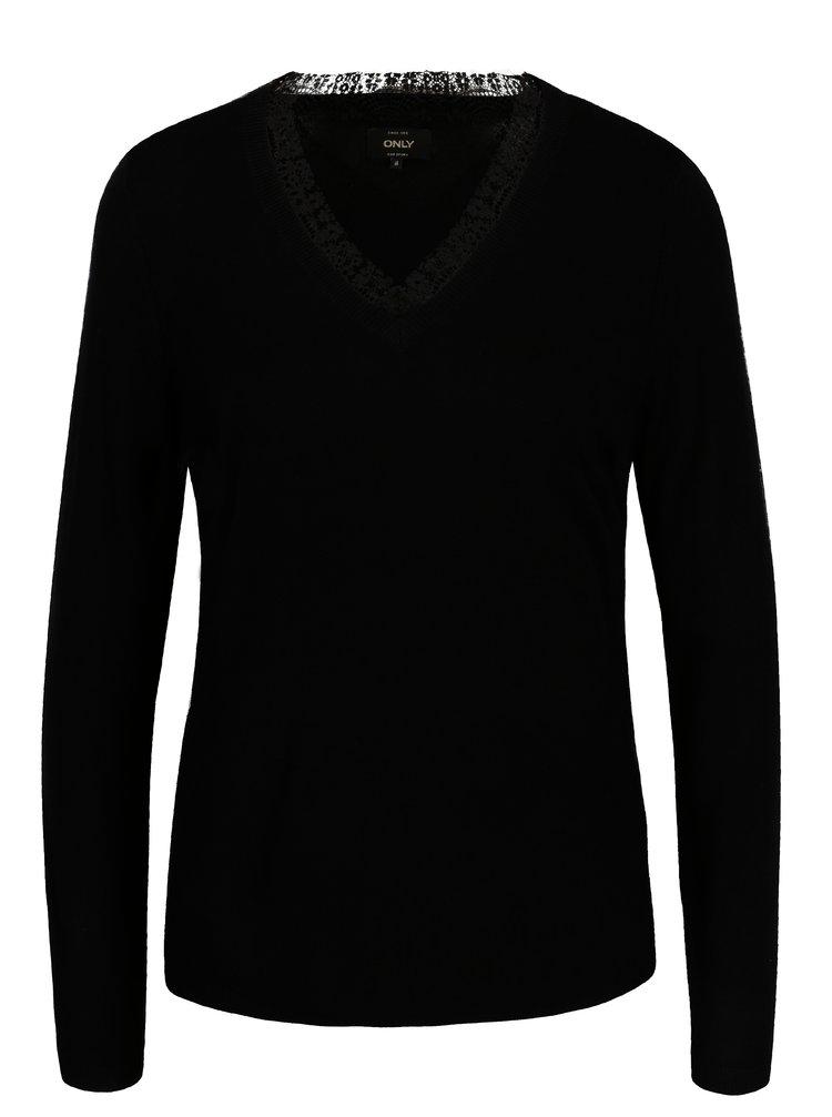 Čierny tenký sveter s véčkovým výstrihom ONLY Sysse