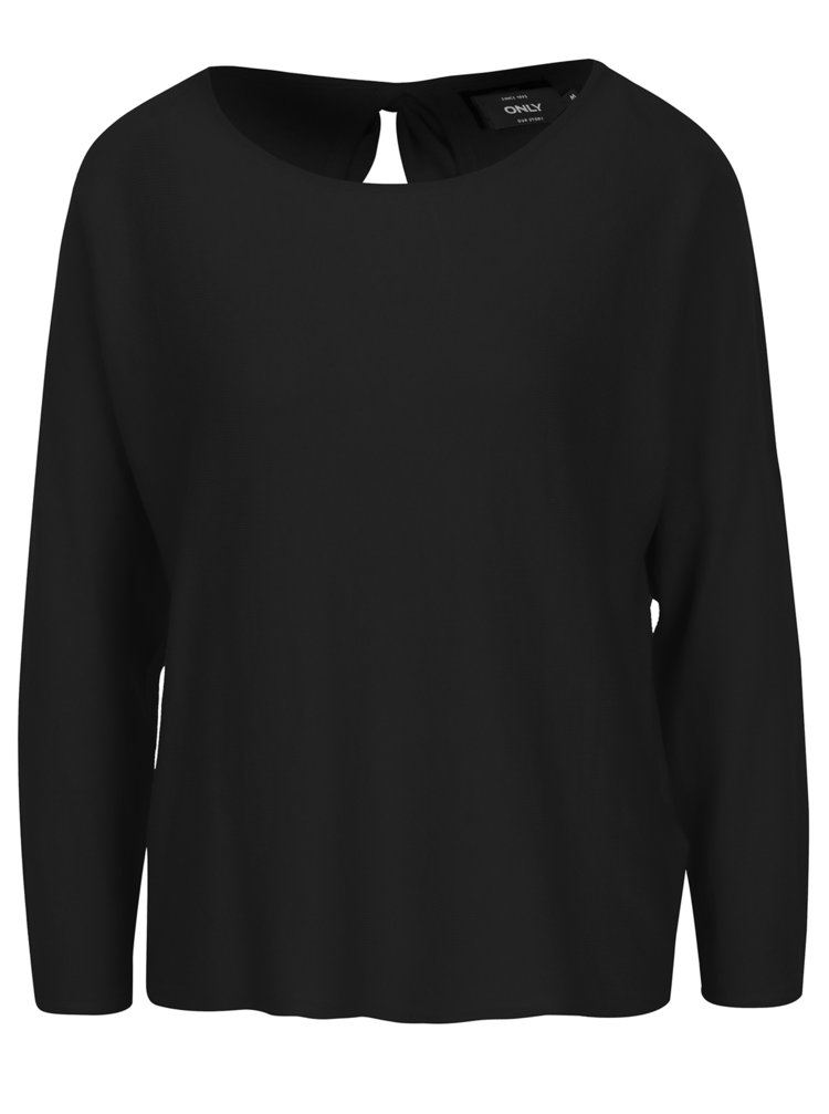 Čierny tenký sveter s mašľou na chrbte ONLY Sophina