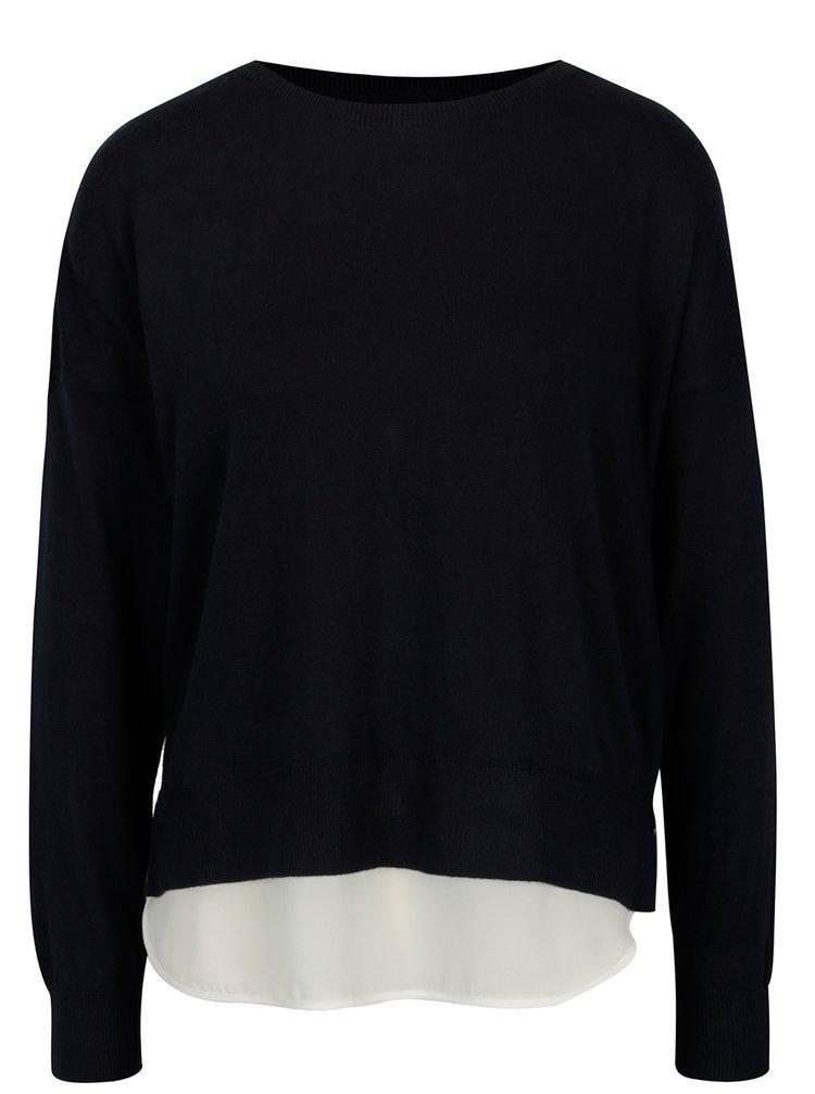 Tmavomodrý tenký sveter s mašľou a košeľovou časťou ONLY Rosana