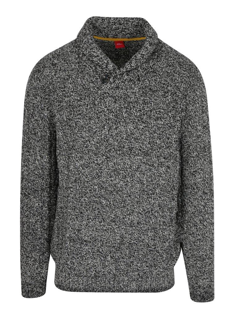 Bílo-černý pánský žíhaný svetr s.Oliver