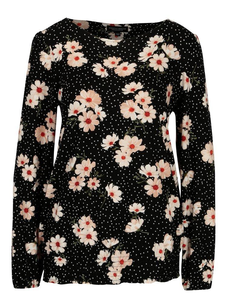 Černé květované tričko Dorothy Perkins