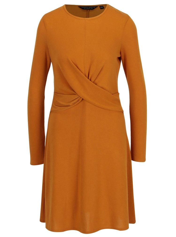 Hořčicové šaty s dlouhým rukávem Dorothy Perkins