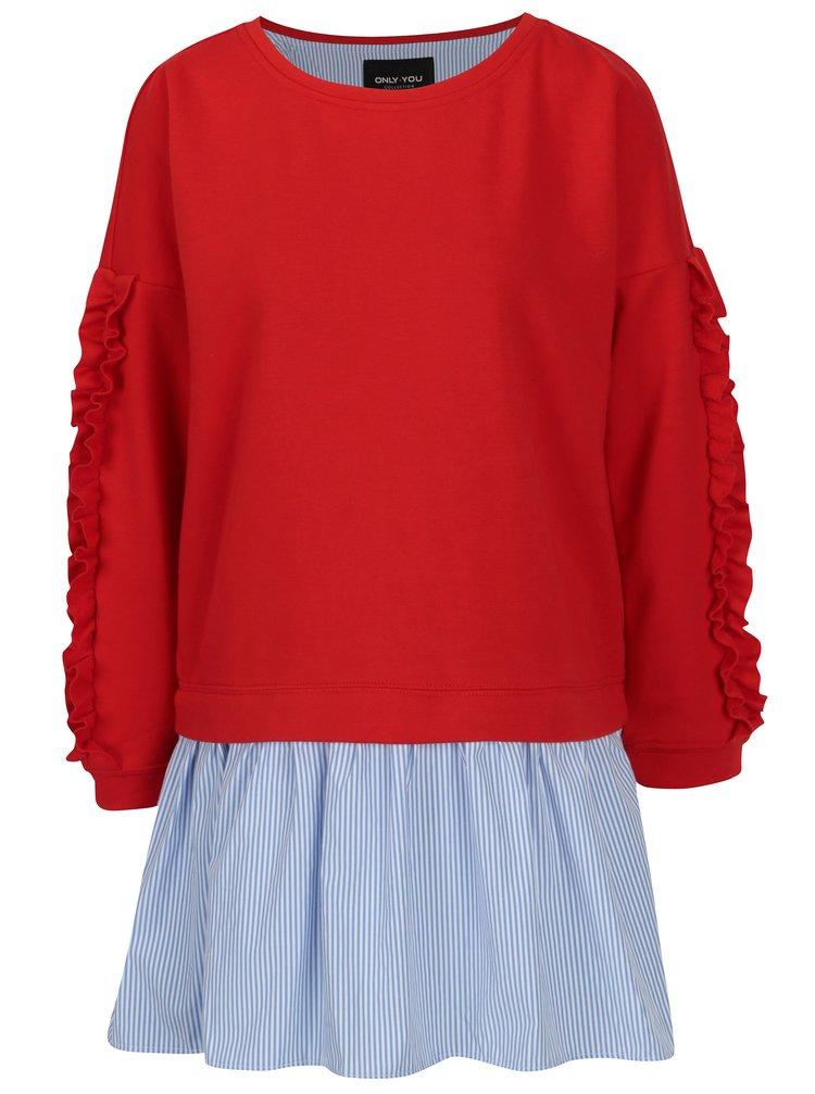 Bluza rosie cu volane pe maneci si terminatie de camasa - ONLY Sunny