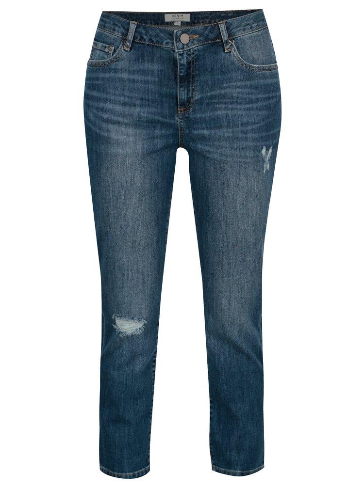 Modré zkrácené džíny s vysokým pasem Dorothy Perkins Taylor