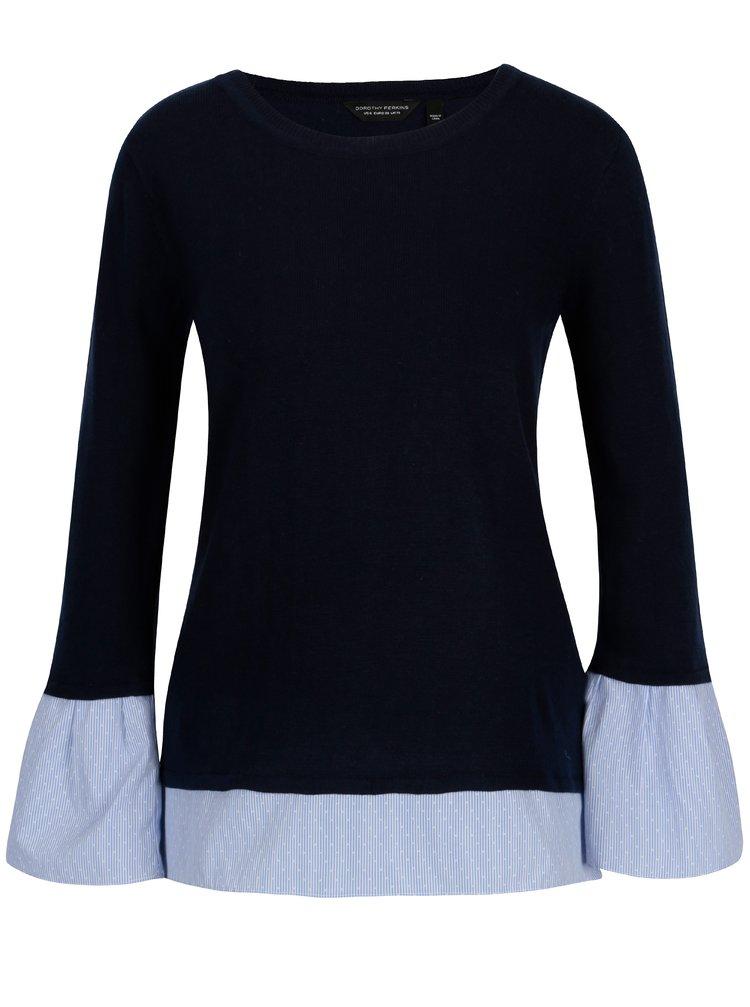 Tmavě modrý svetr s všitými zvonovými rukávy Dorothy Perkins