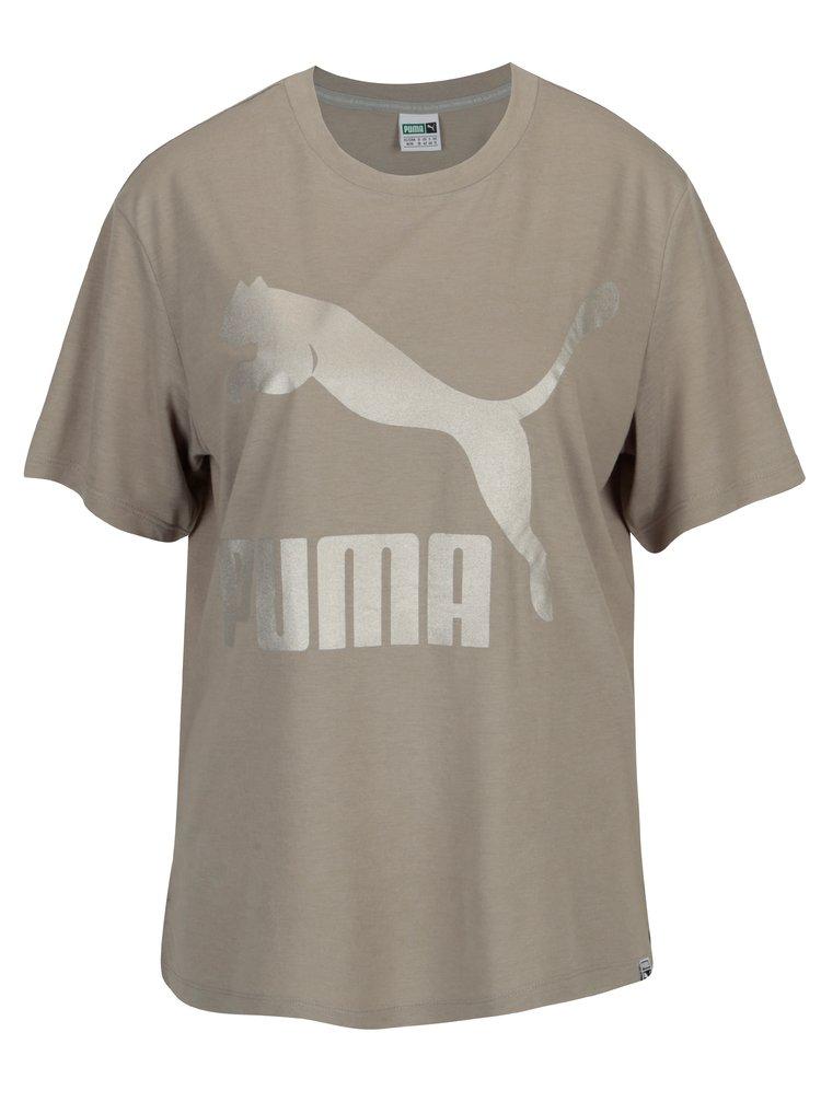 Šedé dámské tričko s potiskem Puma