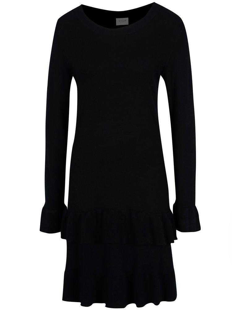 Rochie pulover bleumarin cu volane  VILA Minte