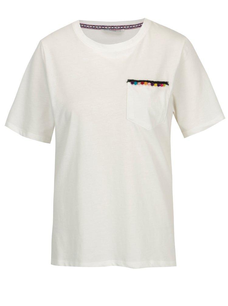 Tricou alb cu buzunar si decoratiune de inspiratie etnica - ONLY Tally