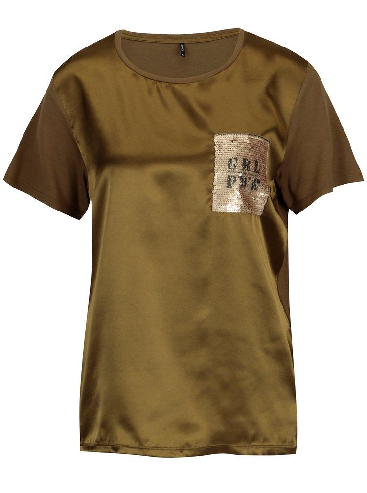 Kaki lesklé tričko s flitrovou výšivkou ONLY Sally