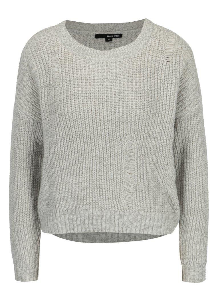 Světle šedý žíhaný svetr s potrhaným efektem TALLY WEiJL