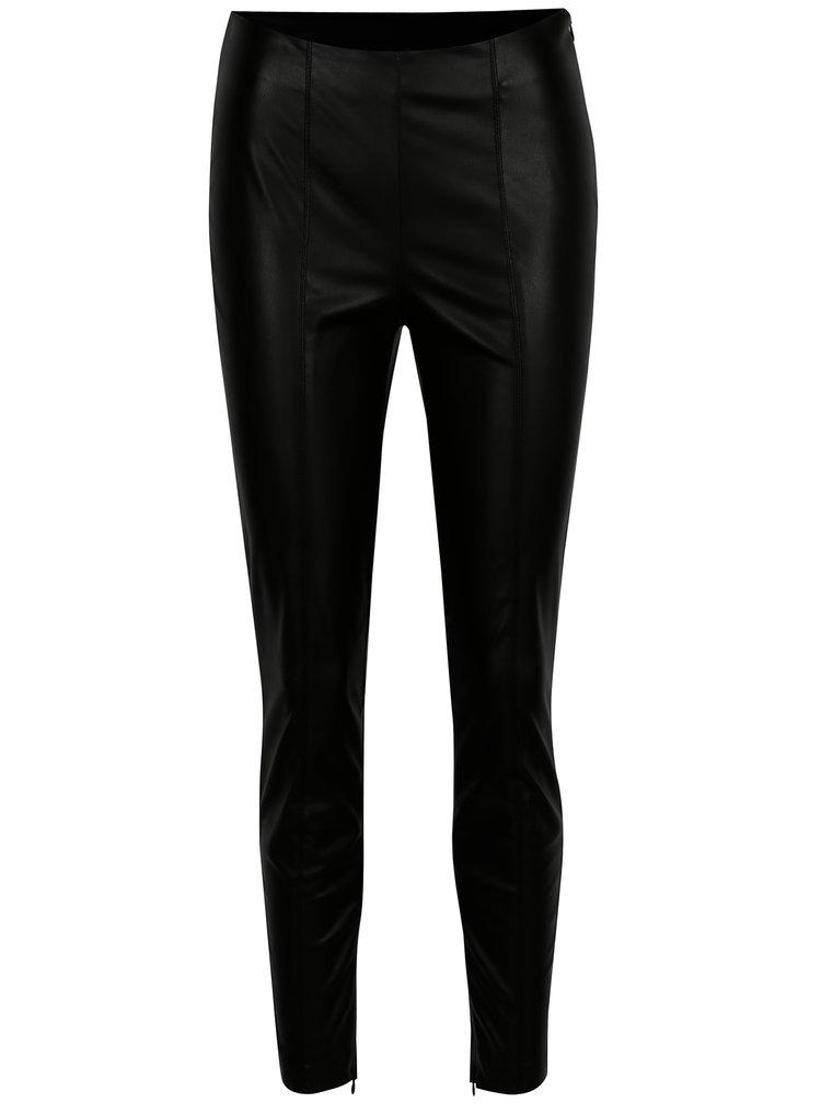 Černé koženkové kalhoty s vysokým pasem VILA Pale