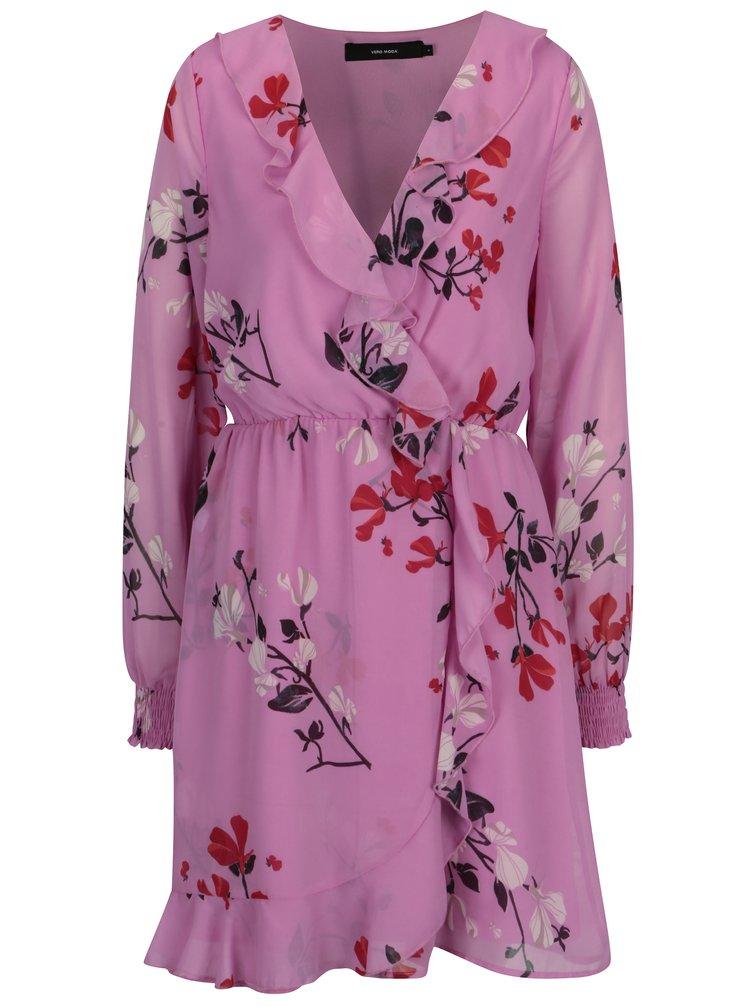 Rochie roz cu print floral si volane VERO MODA Hallie