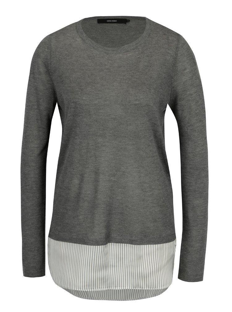 Šedý lehký svetr s všitou košilovou částí VERO MODA Ania