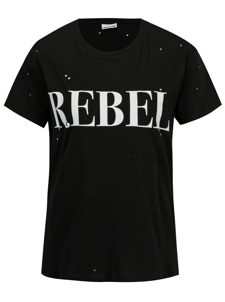 Čierne tričko s potlačou a kamienkami Noisy May Command