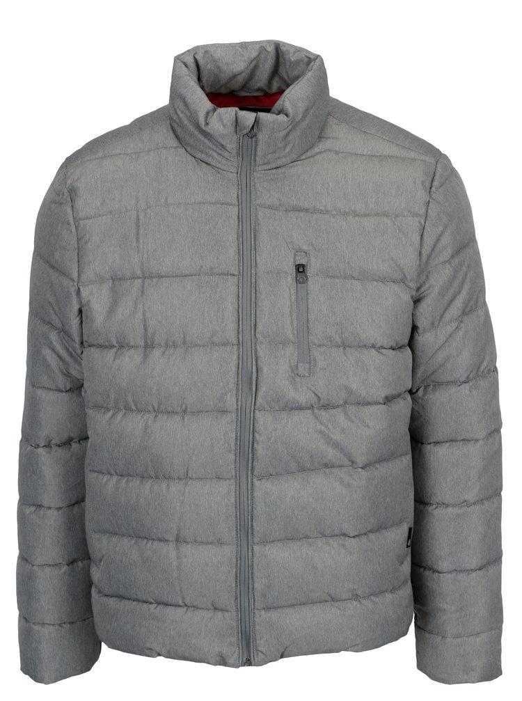Šedá žíhaná prošívaná zimní bunda Burton Menswear London