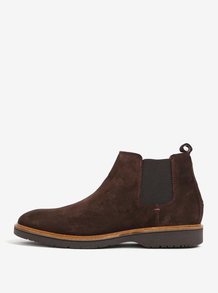 Tmavě hnědé pánské semišové chelsea boty Tommy Hilfiger