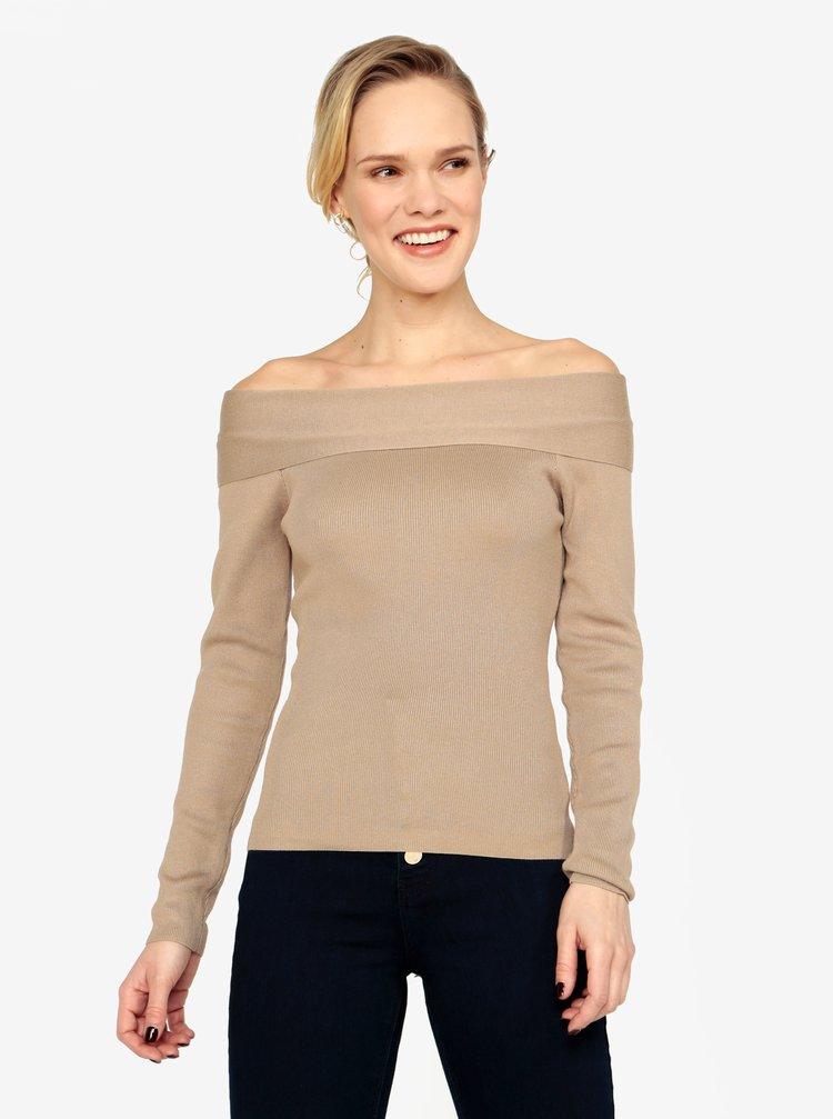 Béžový svetr s odhalenými rameny MISSGUIDED