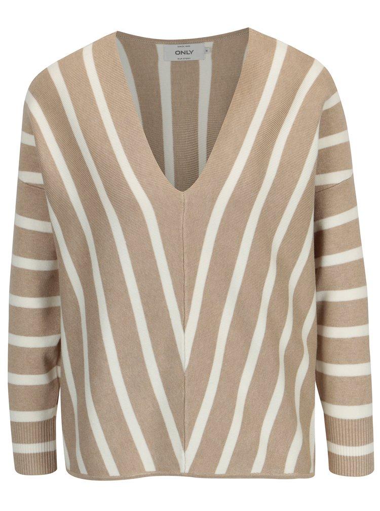 Béžový pruhovaný svetr s véčkovým výstřihem ONLY Aya