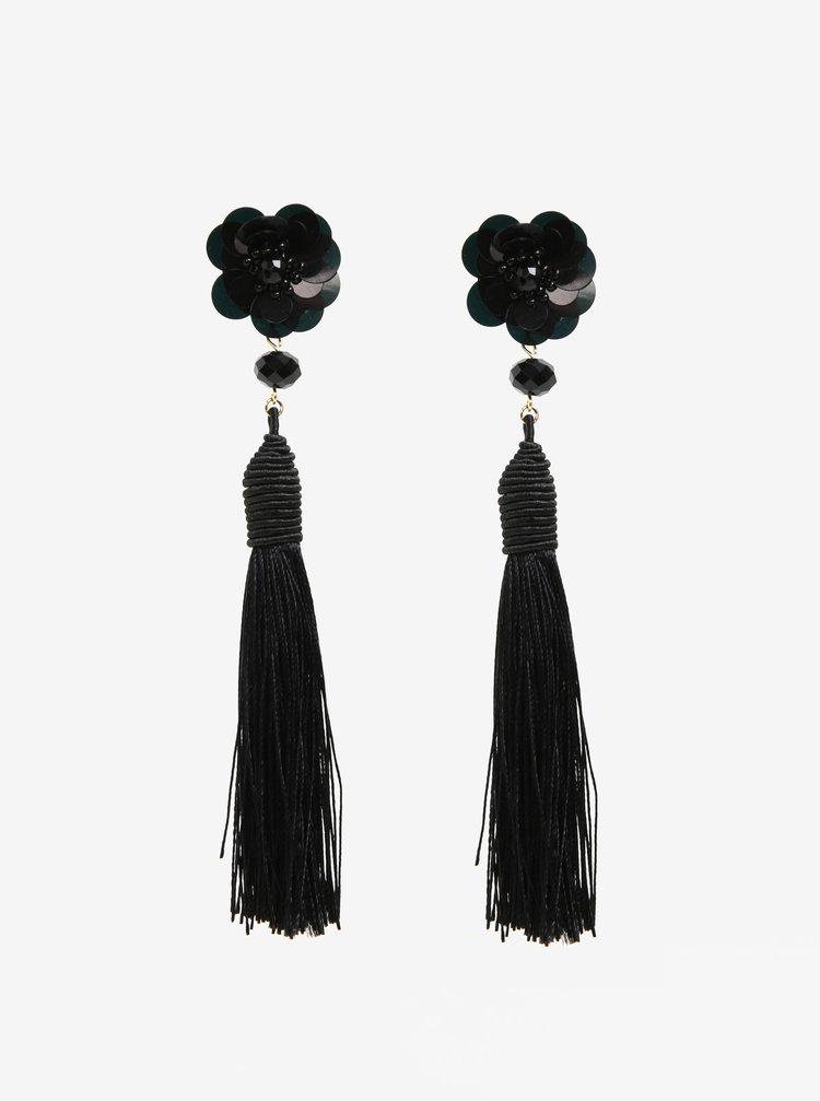 Černé náušnice s květovaným motivem a třásněmi Pieces Joanna