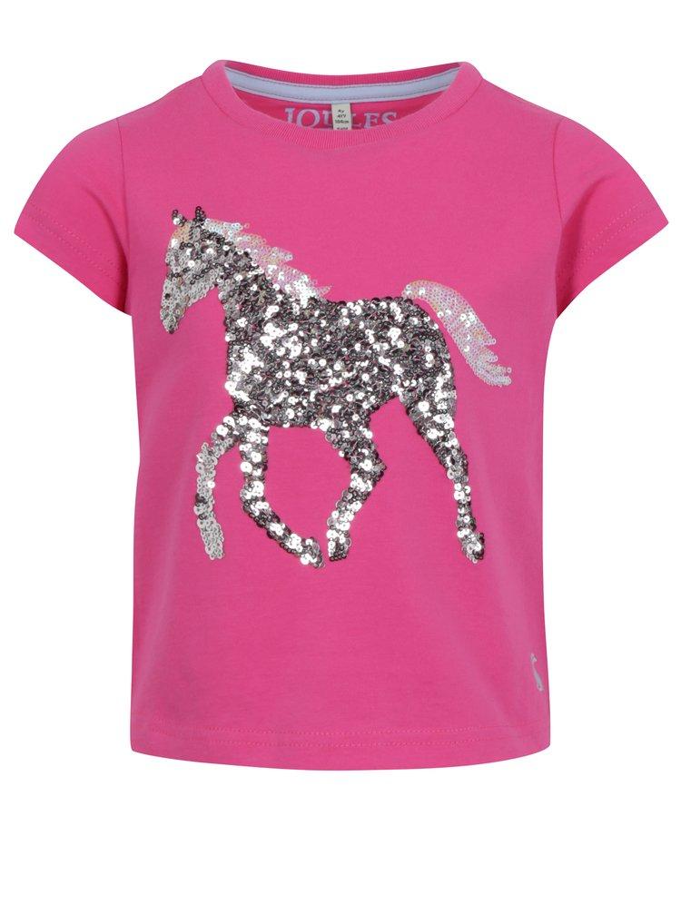 Růžové holčičí tričko s flitry Tom Joule Astra