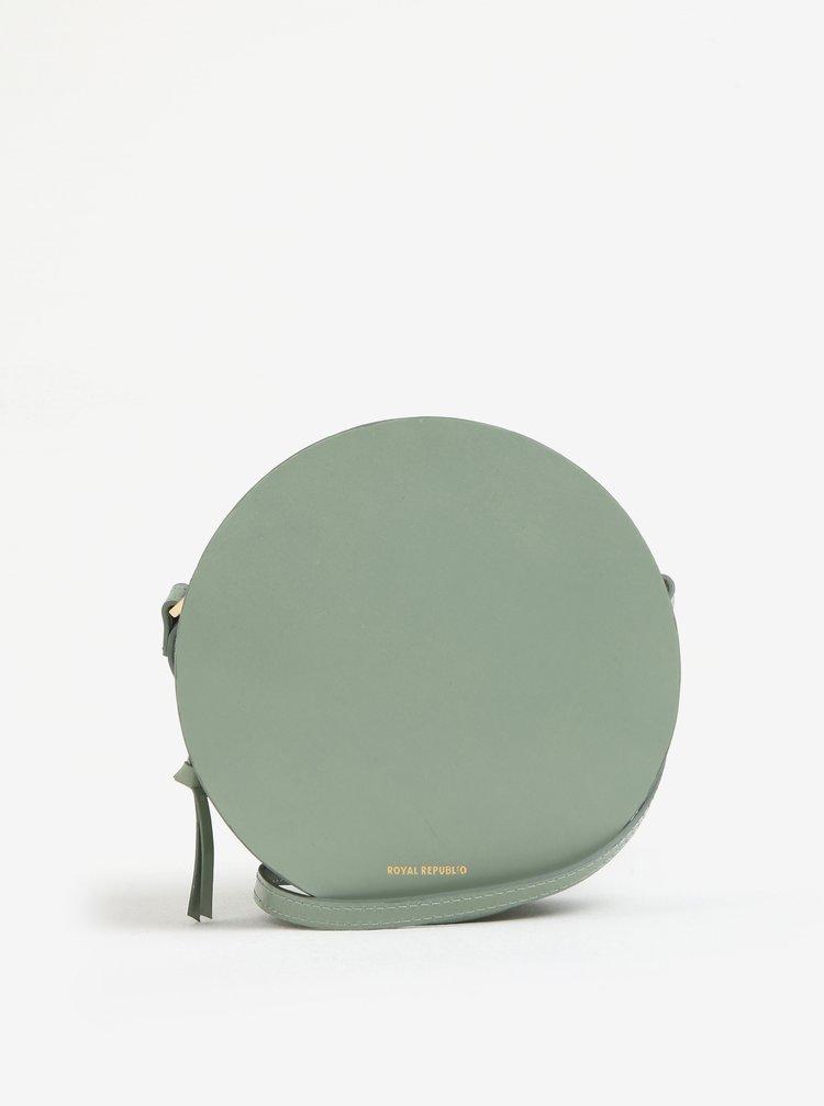 Světle zelená kožená kulatá crossbody kabelka Royal RepubliQ Galax Round