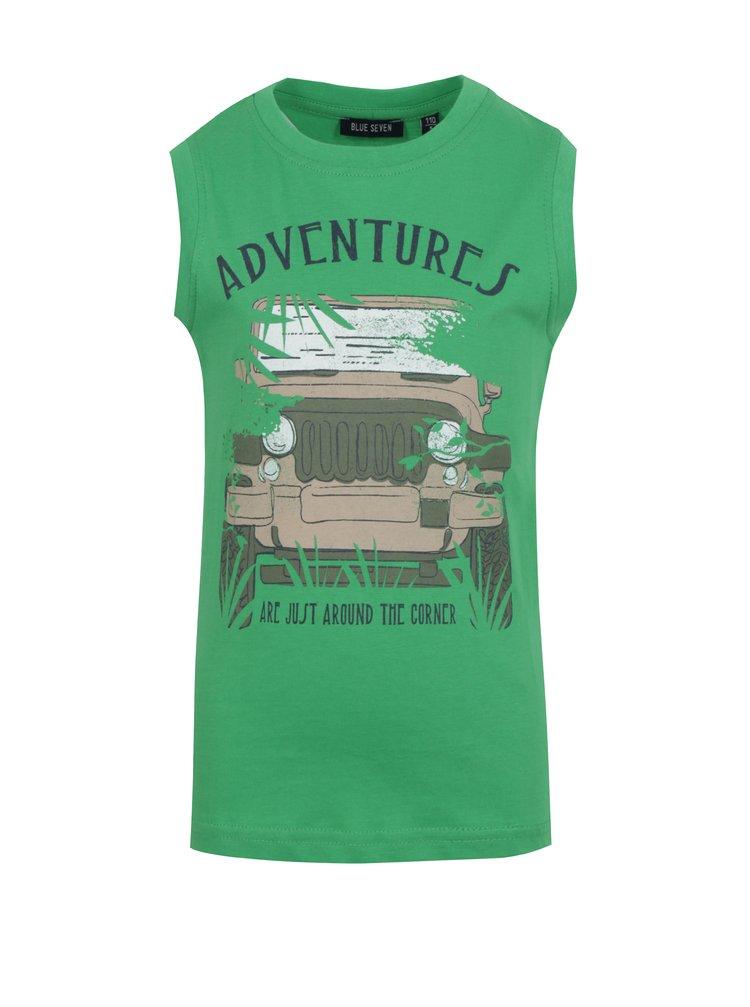Zelené klučičí tričko bez rukávu s potiskem Blue Seven