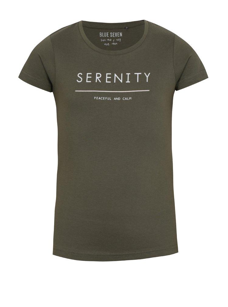 Khaki holčičí tričko s krátkým rukávem a nápisem Blue Seven