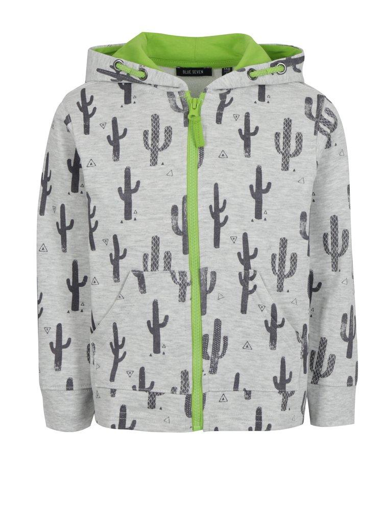 Svetlosivá chlapčenská mikina s kaktusmi Blue Seven