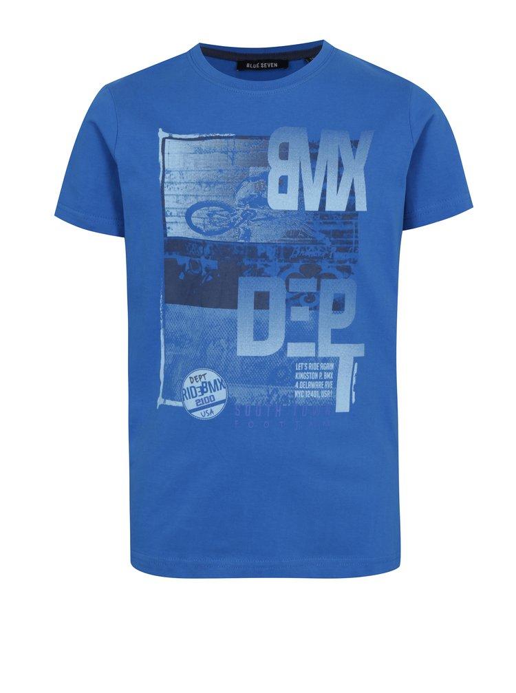 Modré klučičí tričko s potiskem bikera Blue Seven