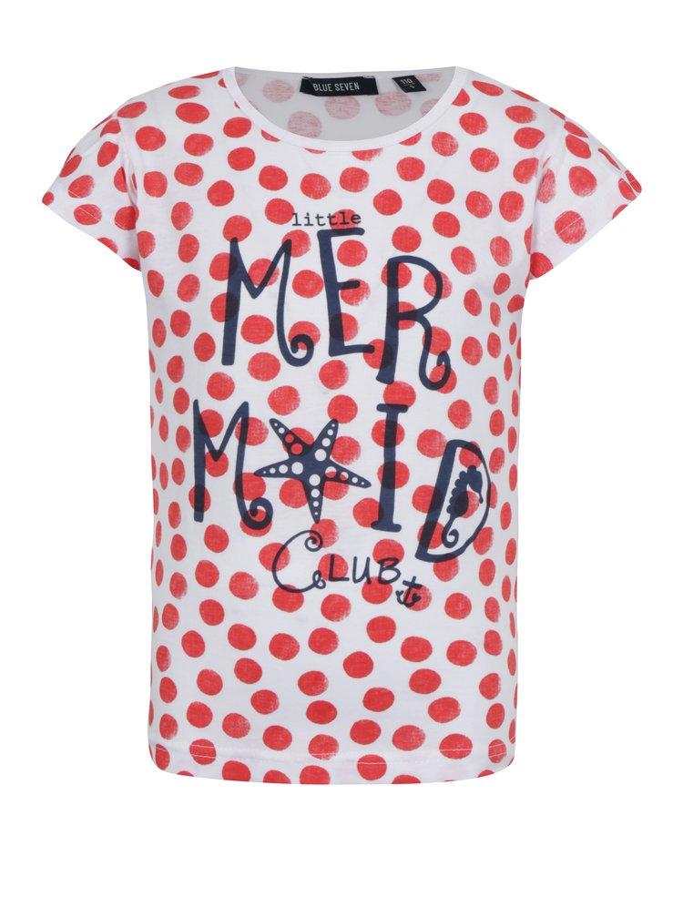 Červeno-bílé holčičí puntíkované tričko s potiskem Blue Seven