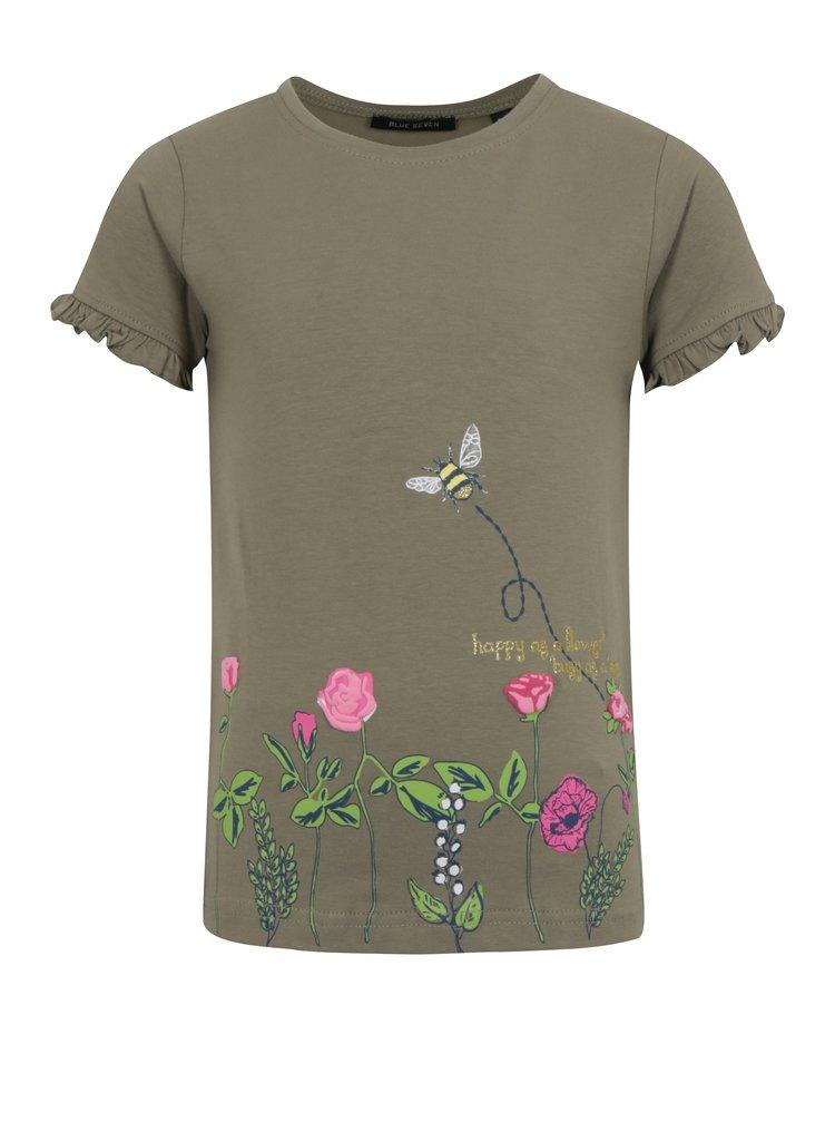 Kaki dievčenské tričko s potlačou a volánmi na rukávoch Blue Seven