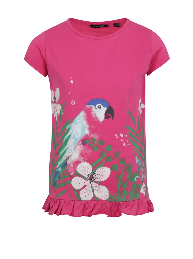 Ružové dievčenské tričko s volánom na spodnom leme Blue Seven
