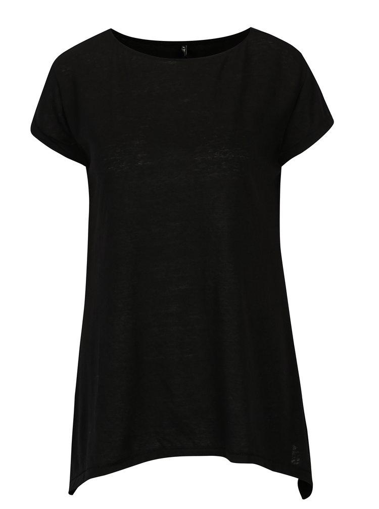 Černé průsvitné tričko s cípy ONLY Uma