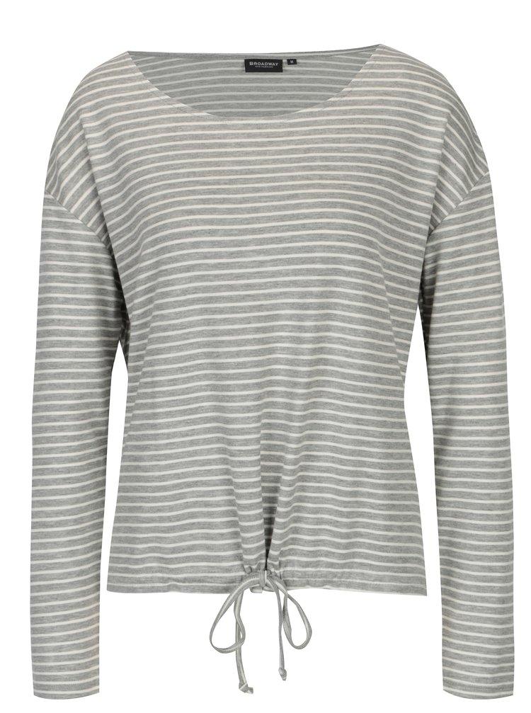 Světle šedé dámské pruhované tričko Broadway Alicenne