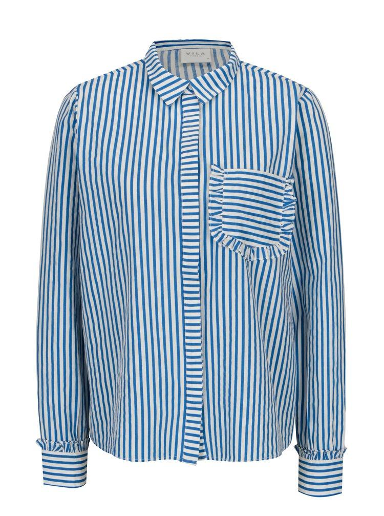 Bílo-modrá pruhovaná košile s kapsou VILA Melava