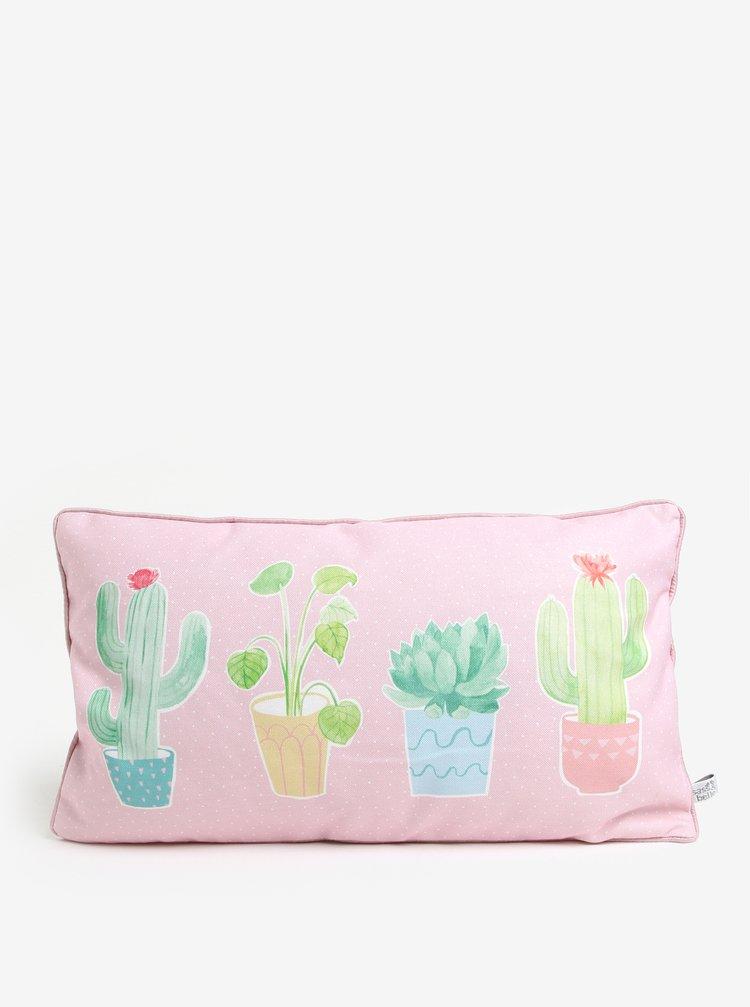 Světle růžový polštář s motivem kaktusů Sass & Belle