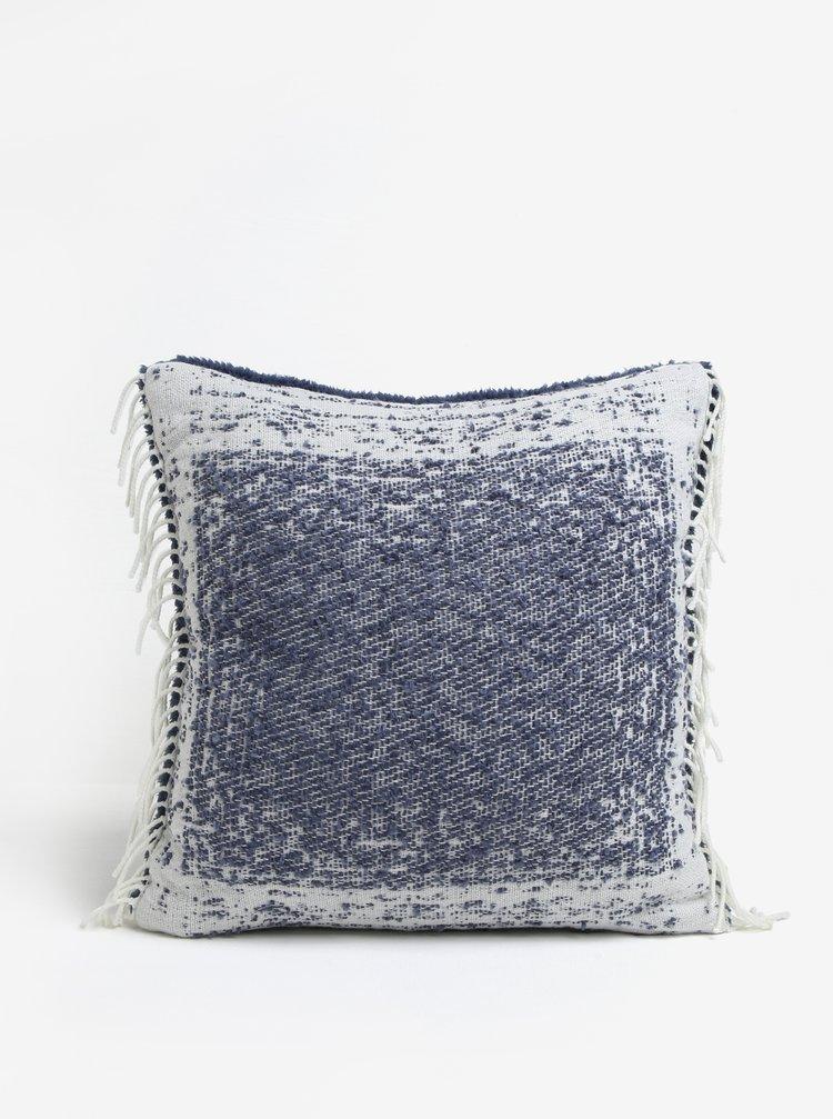 Modrý žíhaný polštář s třásněmi Kaemingk