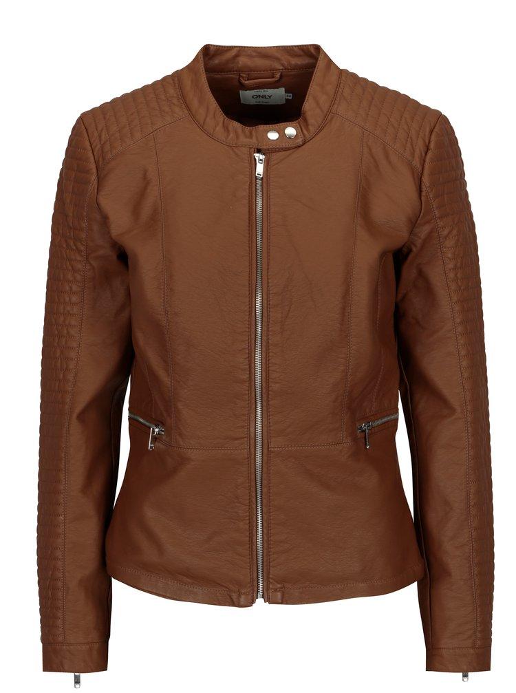 Jacheta scurta maro din piele sinteica ONLY Heart