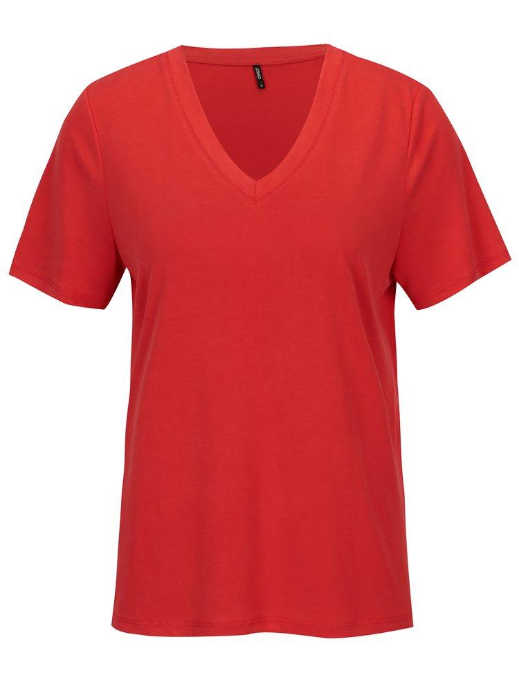 Červené voľné basic tričko ONLY Venus