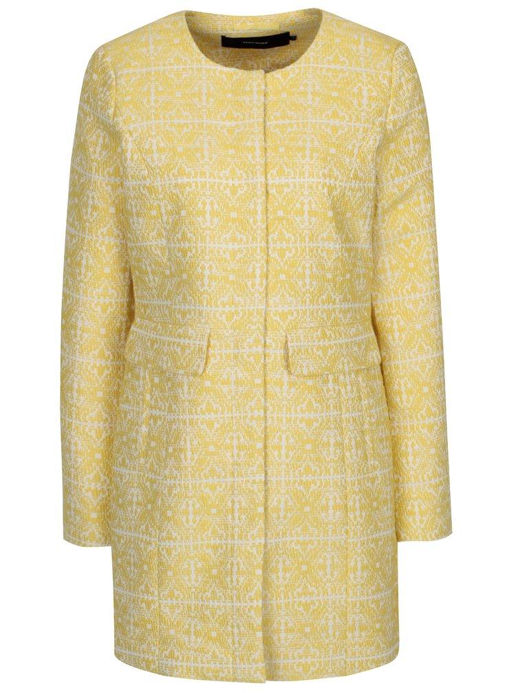 Krémovo-žlutý vzorovaný kabát VERO MODA Sylva