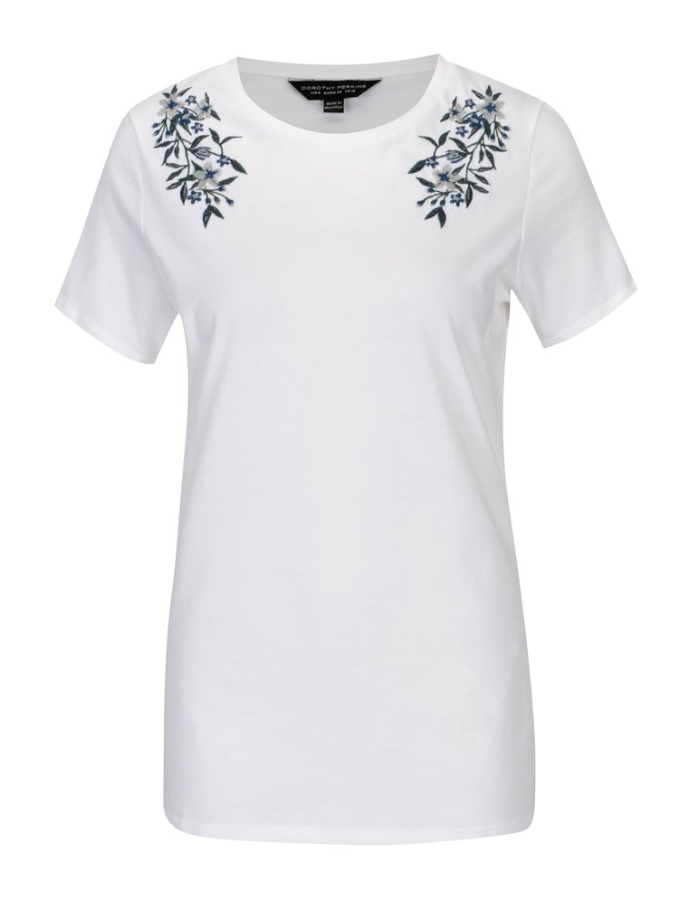 Bílé tričko s výšivkou Dorothy Perkins
