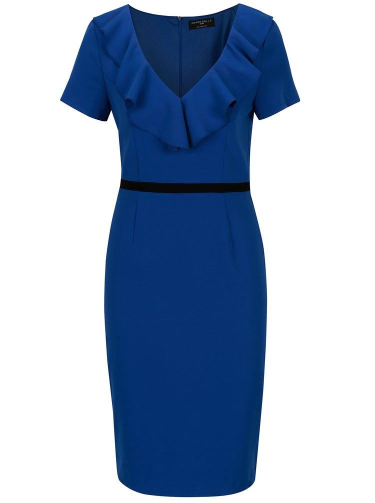 Modré šaty s volánky ve výstřihu Paper Dolls