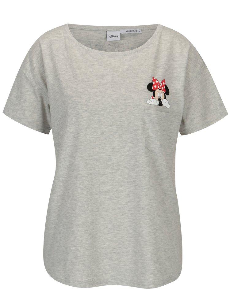 Šedé žíhané tričko s potiskem Haily´s Minnie