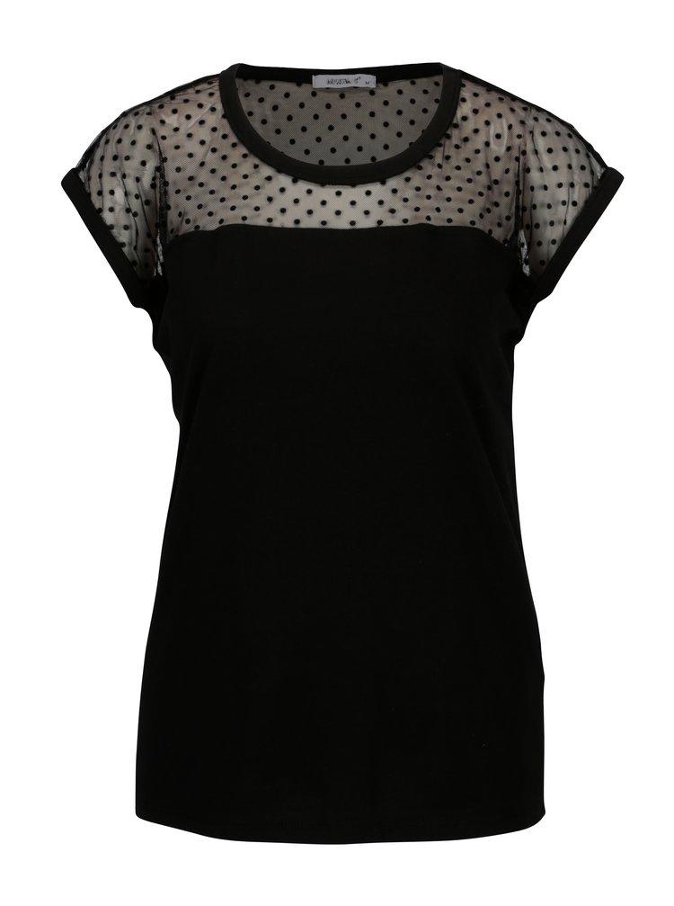 Tricou negru cu insertie de plasa si buline - Haily´s Daria