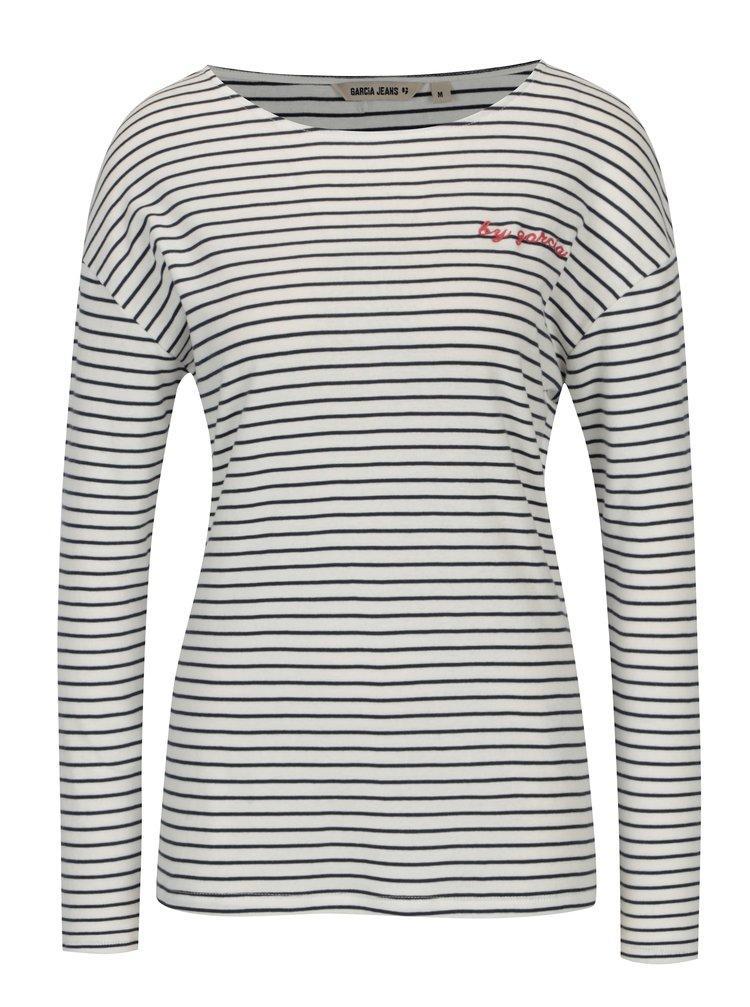 Bluza cu dungi alb & bleumarin si umeri cazuti pentru femei - Garcia Jeans
