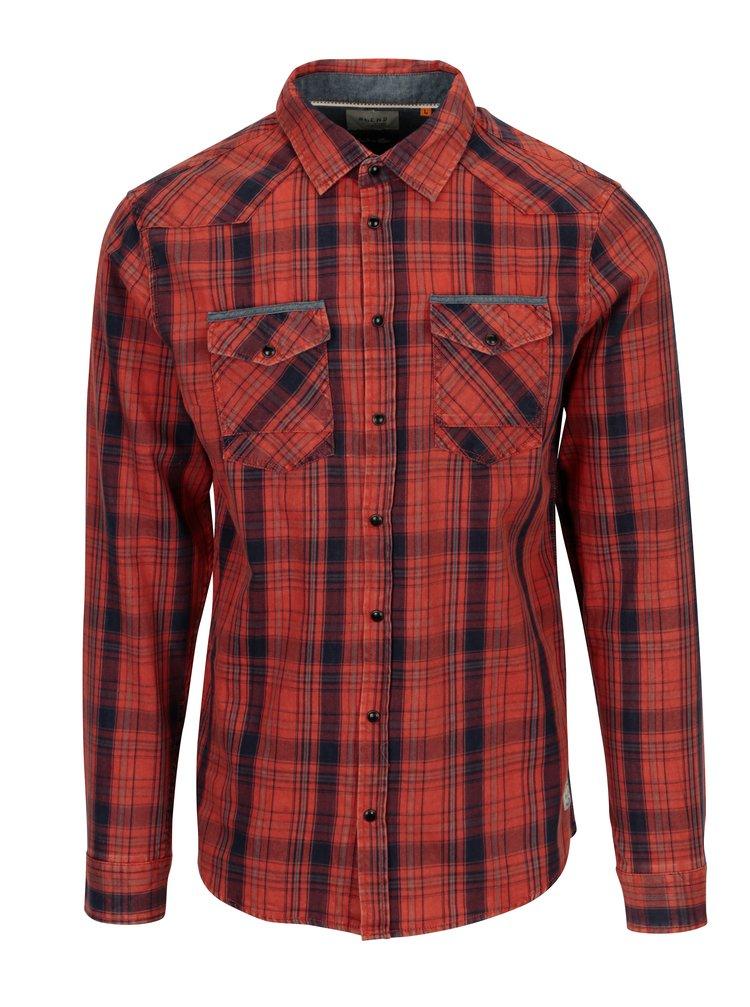 Červená kostkovaná slim fit košile Blend