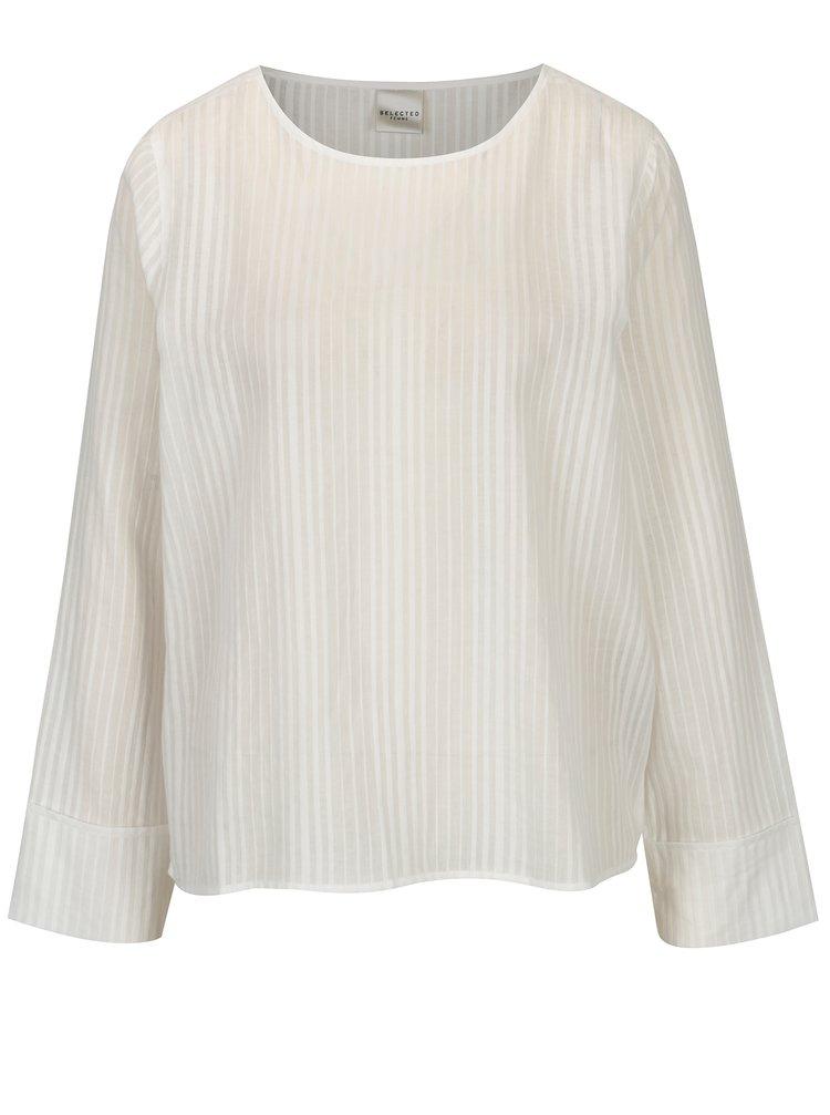 Bluza alba cu model fin - Selected Femme Luellek
