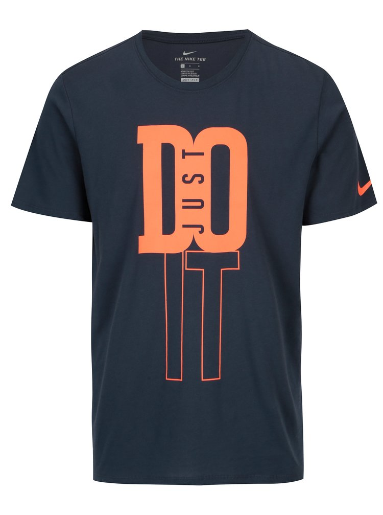 Tmavě modré pánské funkční tričko s neonovým potiskem Nike