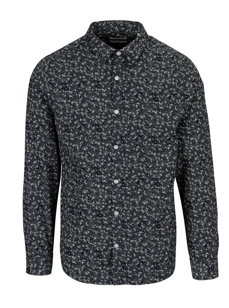Tmavě modrá vzorovaná slim fit košile ONLY & SONS Newton